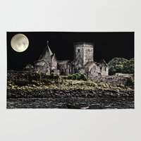 downton abbey Area & Throw Rugs featuring Inchcolm Abbey  by Valerie Paterson