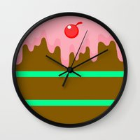 cake Wall Clocks featuring Cake by Rejdzy