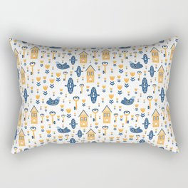 Scandi Houses Welcome Home with Birds and Botanical Smaller Pattern Rectangular Pillow