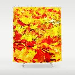 golden autumn leaves watercolor Shower Curtain