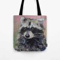 raccoon Tote Bags featuring Raccoon by Michael Creese