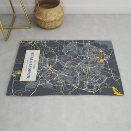 Kuala Lumpur Malaysia City Map with GPS Coordinates Rug