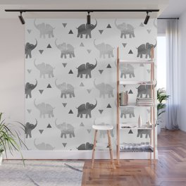 Elephants and Triangles - Silver Wall Mural