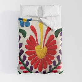 Red Mexican Flower Duvet Cover