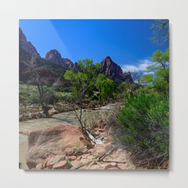 The_Watchman - Spring in Zion_National_Park, UT Metal Print