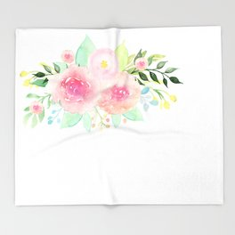Bouquet OF flowers PINK WITH green - PAINTED - watercolor Throw Blanket