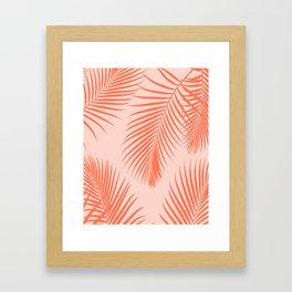 Coral Palms ~ Summer Tropical Pattern Framed Art Print