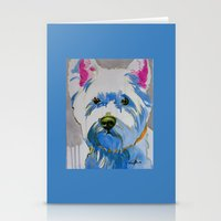 westie Stationery Cards featuring Westie Pop Art Dog Art Portrait  by Karren Garces Pet Art