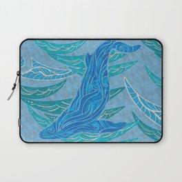 Watercolor Whale Dive Laptop Sleeve