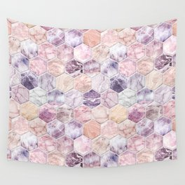 Rose Quartz and Amethyst Stone and Marble Hexagon Tiles Wall Tapestry
