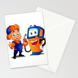 Serviceman with gas pump Stationery Cards