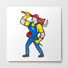 Plumber Carrying Wrench Plunger Cartoon Metal Print