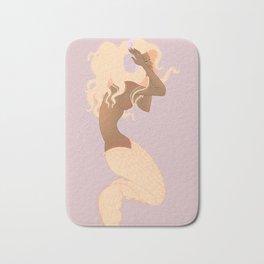pink mermaid with violet headphones Bath Mat