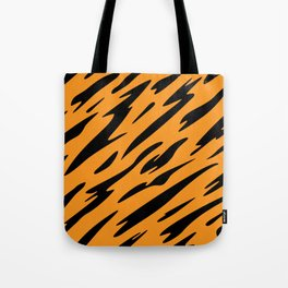 Bold and Beautiful Black and Orange Abstract Tiger Striped Pattern Tote Bag