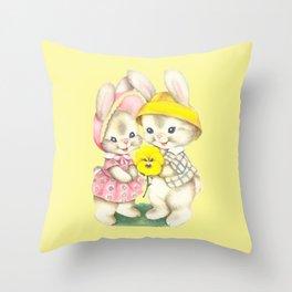 Bunny Girl + Boy Throw Pillow