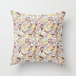Adorable Otter Swirl Throw Pillow