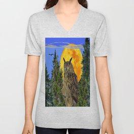 OWL WITH FULL MOON & TREES NATURE BLUE DESIGN Unisex V-Neck