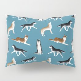 Husky Pattern (Teal Blue Background) Pillow Sham