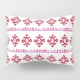 Watercolor Red Boho Tribal Ethnic Kilim Pattern Pillow Sham