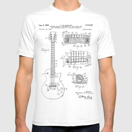 Gibson Guitar Patent - Les Paul Guitar Art - Black And White T-shirt