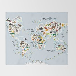 Cartoon animal world map for children and kids, Animals from all over the world, back to school Throw Blanket