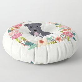 Pitbull dog wreath florals pet portrait pibble mom Floor Pillow