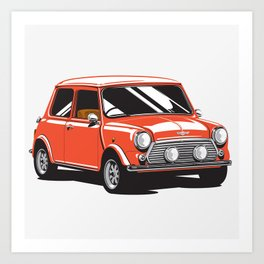 Mini Cooper Car - Red Art Print