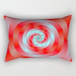 Red and blue Circular Spiral Rectangular Pillow