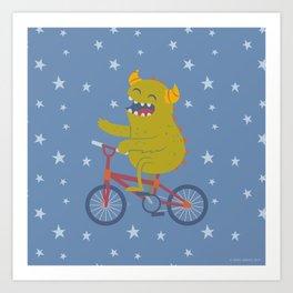 Cycling Monster Art Print