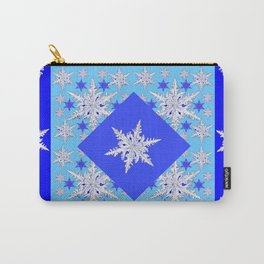 DECORATIVE BABY BLUE SNOW CRYSTALS BLUE WINTER ART Carry-All Pouch