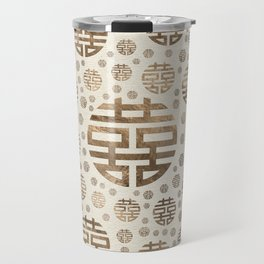 Double Happiness Symbol pattern - pastel gold Travel Mug