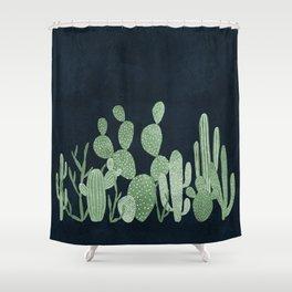 Green cactus garden Shower Curtain