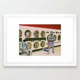 In the Laundromat with Boba Fett Framed Art Print