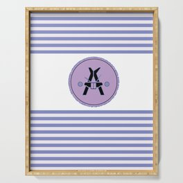Bunny Monogram Purple Striped ~A~ Serving Tray