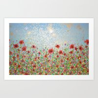 poppies and daisies Art Print