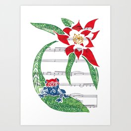 Coqui   (South American Poison Dart Frog with flower on sheet music) Art Print