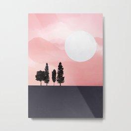 Pink Sunny Field Metal Print