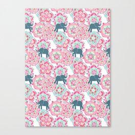 Tiny Elephants in Fields of Flowers Canvas Print