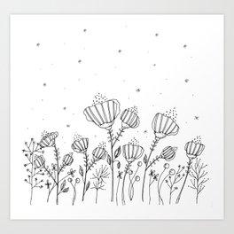 Doodle Flowers Illustration Art Print