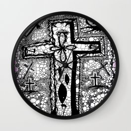 He is Risen - B/W Wall Clock
