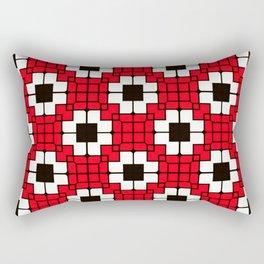 Retro Mosaic Red & Black Rectangular Pillow