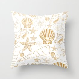Gold Sea Shells on white Throw Pillow