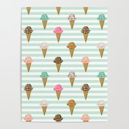 ice cream cones flavors mint stripes food fight apparel and gifts Poster