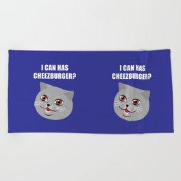 Funny Cat Meme I Can Has Cheezburger? Beach Towel