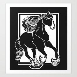 Black and White Shire Horse Art Art Print