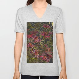 Zinnia Pink Abstract by CheyAnne Sexton Unisex V-Neck
