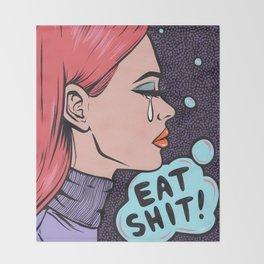 Eat It! Crying Comic Girl Throw Blanket