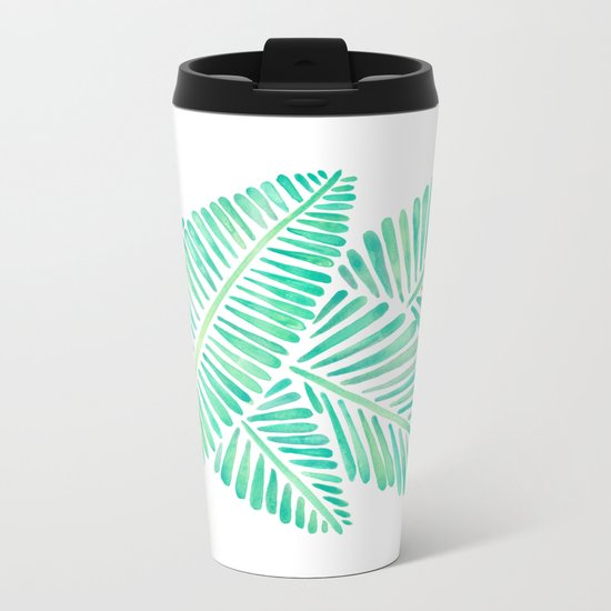 Tropical Banana Leaves – Mint Palette Metal Travel Mug