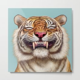 Smiling Tiger Metal Print