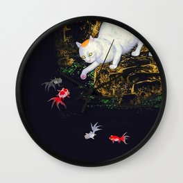 Asian Cat playing with Koi Wall Clock